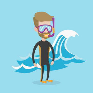 A hipster man with the beard in diving suit, flippers, mask and tube standing on the background of a big wave. Young caucasian man enjoying snorkeling. Vector flat design illustration. Square layout.