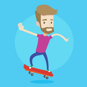 A hipster man with the beard riding a skateboard. Happy caucasian man skateboarding. Young skater riding a skateboard. Man jumping with skateboard. Vector flat design illustration. Square layout.