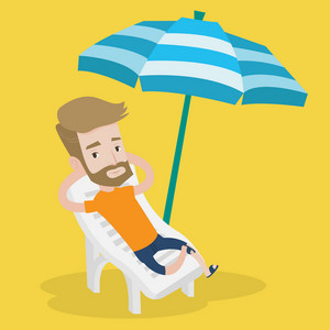 A hipster man with the beard sitting in a chaise longue on the beach. Young happy man resting on holiday while sitting under umbrella on the beach. Vector flat design illustration. Square layout.