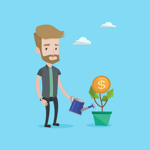 A hipster man with the beard watering a money flower. Happy businessman taking care of finances. Successful business and money growth concept. Vector flat design illustration. Square layout.