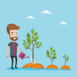 A hipster man with the beard watering trees of three sizes. Young businessman watering plants with watering can. Business growth and investment concept. Vector flat design illustration. Square layout.