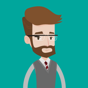 A hipster man with the beard wearing wearable computer with an optical head-mounted display. Young caucasian man wearing smart glasses. Vector flat design illustration. Square layout.