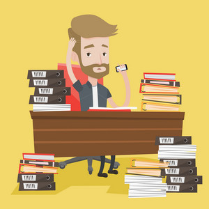 A hipster overworked businessman with the beard sitting at workplace with heaps of papers and folders, holding cellphone in hand and clutching his head. Vector flat design illustration. Square layout.