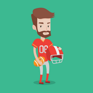 A hipster rugby player with the beard holding ball and helmet in hands. Young caucasian male rugby player in uniform. Vector flat design illustration. Square layout.