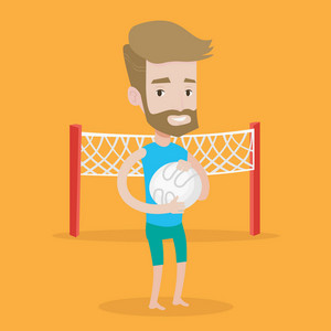 A hipster sportsman with the beard holding volleyball ball in hands. Sportive beach volleyball player standing on a background with voleyball net. Vector flat design illustration. Square layout.