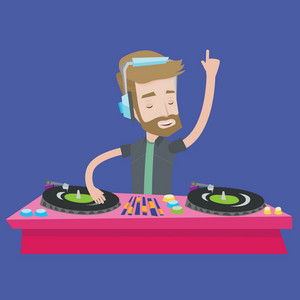 A hipster young DJ with the beard mixing music on turntables. DJ playing and mixing music on deck. Caucasian DJ wearing headphones at the party. Vector flat design illustration. Square layout.