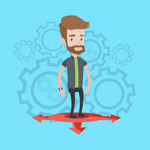 A hipster young man with the beard standing on three alternative ways on a blue background with cogwheels. Concept of career choices. Vector flat design illustration. Square layout.