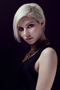 A low key photo of a beautiful and glamorous young woman with creative hair style. Colored and natural retouched.