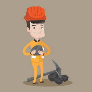 A miner in hard hat holding coal in the hands. Miner with a pickaxe. Miner working at coal mine. Vector flat design illustration. Square layout.