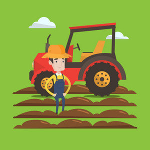 A proud farmer in summer hat standing on the background of tractor preparing land. Young satisfied farmer standing in front of agricultural machinery. Vector flat design illustration. Square layout.