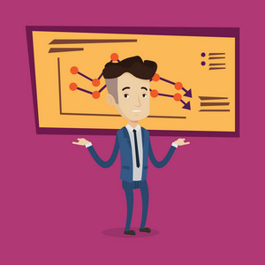 A stressed businessman with spread arms standing on the background of board with decreasing chart. Bancrupt business man.Concept of business bankruptcy. Vector flat design illustration. Square layout.