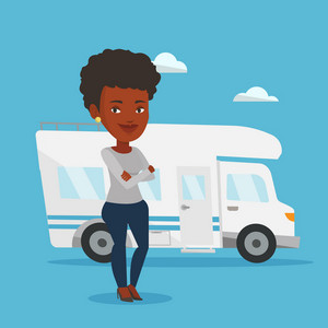 Aafrican-american woman enjoying her vacation in motor home. Woman standing with arms crossed in front of motor home. Woman traveling by motor home. Vector flat design illustration. Square layout.