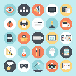 Abstract flat vector icons of design and development concepts. Elements for mobile and web applications.