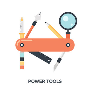 Abstract flat vector illustration concept of design and development tools.
