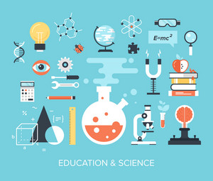 Abstract flat vector illustration of science and technology concepts. Design elements for mobile and web applications.