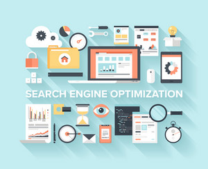 Abstract flat vector illustration of search engine optimization