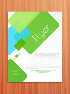 Abstract professional flyer, brochure or template design on wooden background.