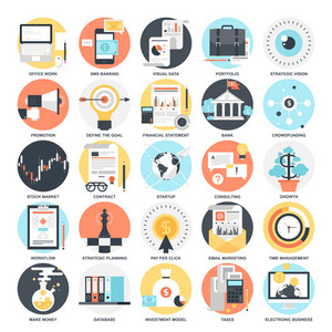 Abstract vector collection of colorful flat business and finance icons. Design elements for mobile and web applications.