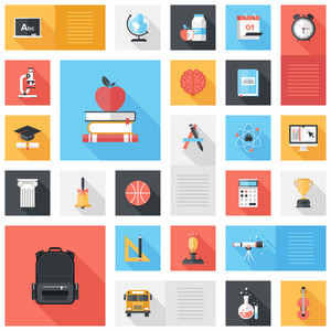 Abstract vector collection of colorful flat education and knowledge icons with long shadow. Design elements for mobile and web applications.