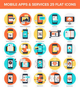 Abstract vector collection of colorful flat mobile applications and services icons. Design elements for mobile and web applications.