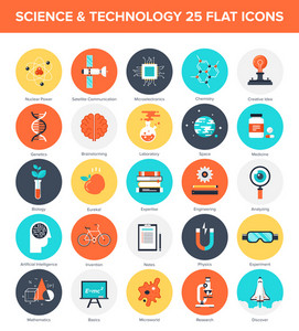 Abstract vector collection of colorful flat science and technology icons. Design elements for mobile and web applications.