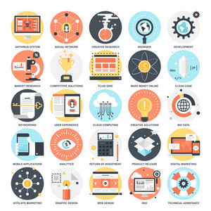 Abstract vector collection of colorful flat SEO and development icons. Design elements for mobile and web applications.