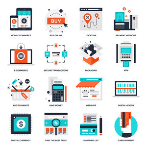 Abstract vector collection of flat digital commerce icons.