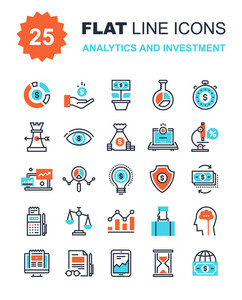Abstract vector collection of flat line analytics and investment icons. Elements for mobile and web applications.