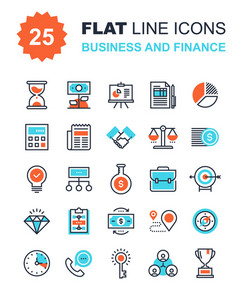 Abstract vector collection of flat line business and finance icons. Elements for mobile and web applications.