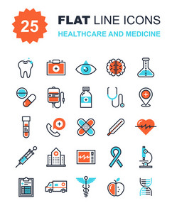 Abstract vector collection of flat line healthcare and medicine icons. Elements for mobile and web applications.