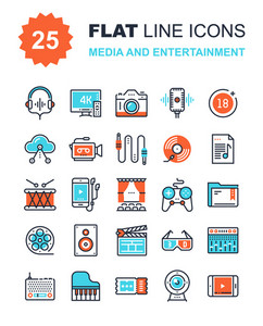 Abstract vector collection of flat line media and entertainment icons. Elements for mobile and web applications.