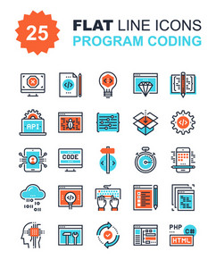 Abstract vector collection of flat line program coding icons. Elements for mobile and web applications.
