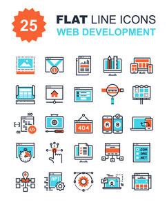 Abstract vector collection of flat line web development icons. Elements for mobile and web applications.