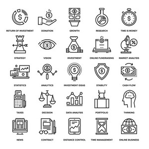 Abstract vector collection of line analytics and investment icons. Elements for mobile and web applications.