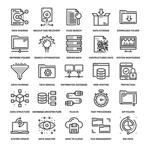 Abstract vector collection of line data management icons. Elements for mobile and web applications.