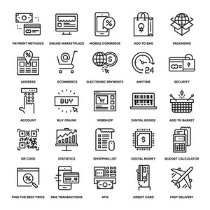 Abstract vector collection of line digital commerce icons.