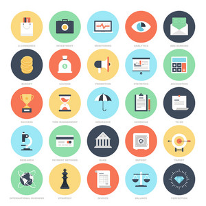 Abstract vector set of colorful flat business and finance icons. Concepts and design elements for mobile and web applications.