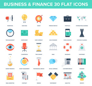 Abstract vector set of colorful flat business and finance icons. Creative concepts and design elements for mobile and web applications.