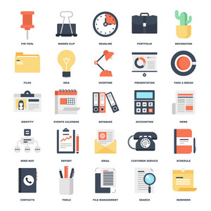 Abstract vector set of colorful flat business and office icons. Concepts and design elements for mobile and web applications.