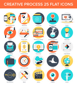 Abstract vector set of colorful flat creative process icons. Concepts and design elements for mobile and web applications.