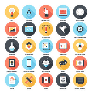 Abstract vector set of colorful flat creative process icons with long shadow. Concepts and design elements for mobile and web applications.