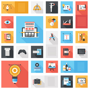 Abstract vector set of colorful flat design and development icons with long shadow. Design elements for mobile and web applications.
