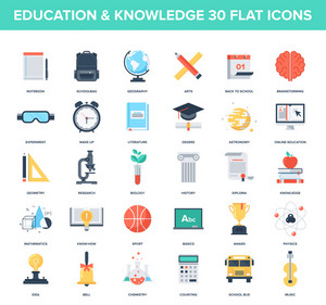 Abstract vector set of colorful flat education and knowledge icons. Creative concepts and design elements for mobile and web applications.