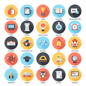 Abstract vector set of colorful flat education and knowledge icons with long shadow. Creative concepts and design elements for mobile and web applications.