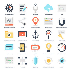 Abstract vector set of colorful flat SEO and development icons. Creative concepts and design elements for mobile and web applications.