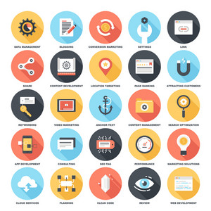 Abstract vector set of colorful flat SEO and development icons with long shadow. Creative concepts and design elements for mobile and web applications.