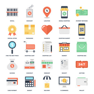 Abstract vector set of colorful flat shopping and commerce icons. Creative concepts and design elements for mobile and web applications.