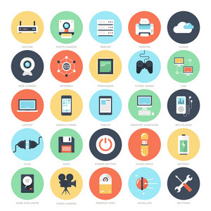 Abstract vector set of colorful flat technology and hardware icons. Creative concepts and design elements for mobile and web applications.