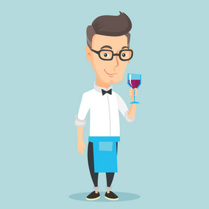 Adult bartender holding a glass of wine in hand. Bartender at work. Waitress looking at glass of red wine. Smiling bartender examining wine in glass. Vector flat design illustration. Square layout.