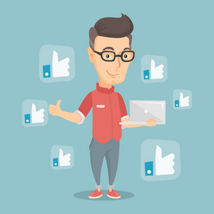 Adult caucasian man showing thumb up and like social network buttons around him. Happy man with laptop and like social network buttons with thumb up. Vector flat design illustration. Square layout.